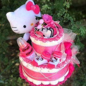 Kitty Diaper Cake. Baby Shower Gift